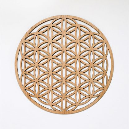 Flower of Life wall ornament oak wood 75 cm isolated white background