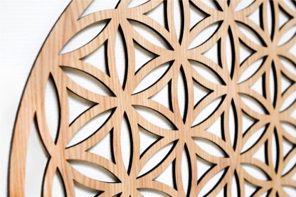 Flower of Life wall ornament oak wood zoom white background