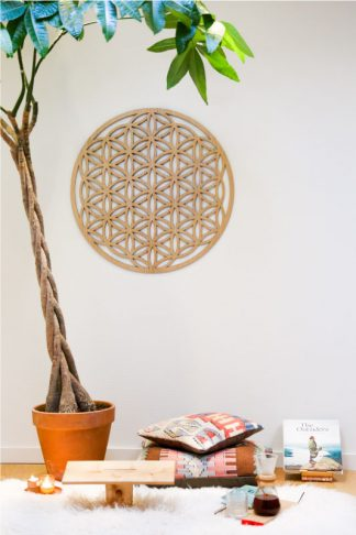 Big Wall Flower Flower of Life wall ornament oak wood 75 cm