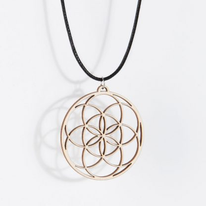 Seed of Life necklace birch wood