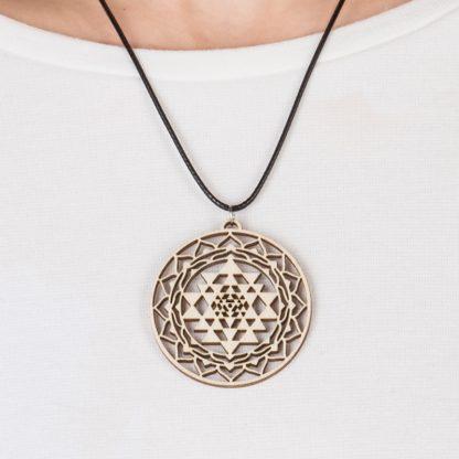 Sri Yantra necklace birch wood