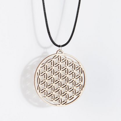 Flower of Life necklace birch wood