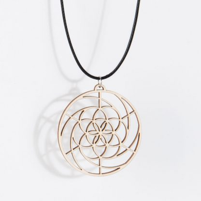 Golden Spiral necklace birch wood