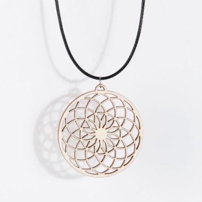Sunflower necklace birch wood